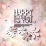 Tarjeta de cumpleaños del vector con las flores en colorido Fotografía de archivo