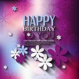 Tarjeta de cumpleaños del vector con las flores en colorido Imagenes de archivo