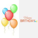 Tarjeta de cumpleaños del vector con los globos del color Imagenes de archivo
