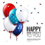 Tarjeta de cumpleaños del vector con los globos y el confeti Imagen de archivo