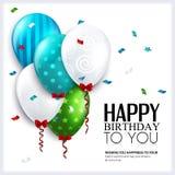 Tarjeta de cumpleaños del vector con los globos y el confeti Fotos de archivo libres de regalías
