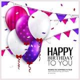 Tarjeta de cumpleaños del vector con los globos y el confeti Fotografía de archivo libre de regalías