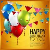 Tarjeta de cumpleaños del vector con los globos y el empavesado Foto de archivo