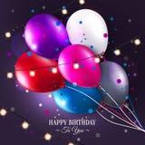 Tarjeta de cumpleaños del vector con los globos y las luces Imagen de archivo