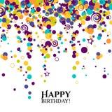 Tarjeta de cumpleaños del vector con los lunares y los deseos Fotografía de archivo