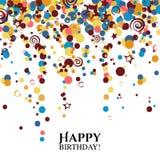 Tarjeta de cumpleaños del vector con los lunares y los deseos Fotos de archivo libres de regalías