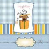 Tarjeta de cumpleaños divertida con el perro Fotografía de archivo libre de regalías