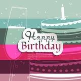 Tarjeta de cumpleaños en fondo colorido de las rayas Foto de archivo