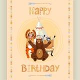 Tarjeta de cumpleaños india americana stock de ilustración