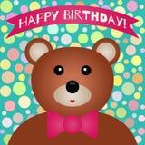 Tarjeta de cumpleaños La cabeza del oso lindo, corbata de lazo, cinta con el texto stock de ilustración