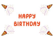 Tarjeta de cumpleaños linda, bandera ilustración del vector