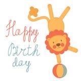 Tarjeta de cumpleaños linda con el león del circo Fotografía de archivo libre de regalías