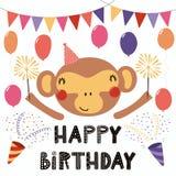 Tarjeta de cumpleaños linda del mono ilustración del vector
