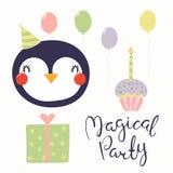 Tarjeta de cumpleaños linda del pingüino stock de ilustración