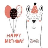 Tarjeta de cumpleaños linda de la llama libre illustration