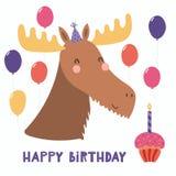 Tarjeta de cumpleaños linda de los alces libre illustration