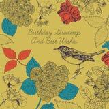 Tarjeta de cumpleaños. Pájaro y flores. Fotografía de archivo libre de regalías