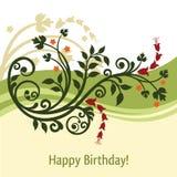 Tarjeta de cumpleaños verde y amarilla ilustración del vector