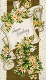 Tarjeta de cumpleaños antigua de la vendimia Imagenes de archivo