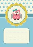 Tarjeta de cumpleaños con el owlet Imagenes de archivo