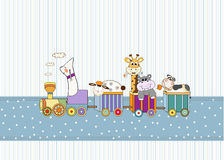 tarjeta de cumpleaños con el tren animal de los juguetes Imágenes de archivo libres de regalías