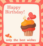 Tarjeta de cumpleaños con la torta Foto de archivo libre de regalías