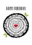 Tarjeta de cumpleaños con los anillos de árbol del corazón, vector Fotos de archivo libres de regalías