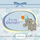 Tarjeta de cumpleaños del bebé con el elefante Foto de archivo