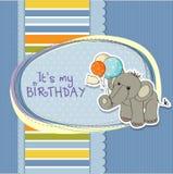 Tarjeta de cumpleaños del bebé con el elefante Foto de archivo libre de regalías
