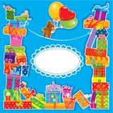 Tarjeta de cumpleaños del bebé para el muchacho Fotografía de archivo libre de regalías