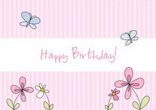 Tarjeta de cumpleaños divertida del doodle Imagenes de archivo