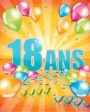 Tarjeta de cumpleaños francesa 18 años Imagen de archivo