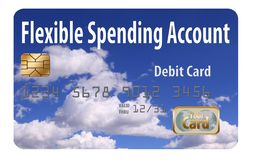 Tarjeta de débito del FSA Esto es una tarjeta de débito flexible de la cuenta del gasto con un diseño de la tirita imagenes de archivo