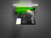 Tarjeta de débito en un efectivo Foto de archivo