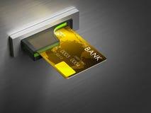 Tarjeta de débito en un efectivo Fotografía de archivo libre de regalías