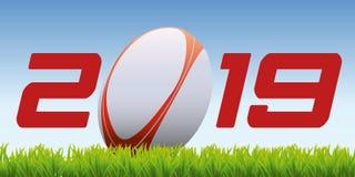 Tarjeta de deportes en el tema del rugbi stock de ilustración