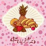 Tarjeta de dibujo del color de la piña de la cereza de la fresa del limón de los plátanos Fotografía de archivo