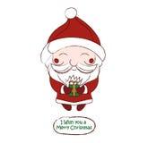 Tarjeta de dibujo linda del vector de Santa Claus del chibi Fotos de archivo libres de regalías