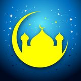 Tarjeta de Eid Mubarak Mosque Scene Vector Graphic Imagenes de archivo