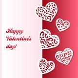 Tarjeta de encaje de papel cortada vector de las tarjetas del día de San Valentín de los corazones Imagen de archivo libre de regalías