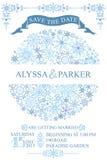 Tarjeta de fecha de la reserva de la boda del invierno Círculo de los copos de nieve Imagen de archivo