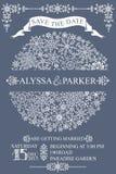Tarjeta de fecha de la reserva de la boda del invierno Círculo de los copos de nieve Foto de archivo