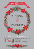 Tarjeta de fecha de la reserva de la boda del invierno Guirnalda de la Navidad Fotografía de archivo