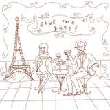 Tarjeta de fecha de París Foto de archivo libre de regalías