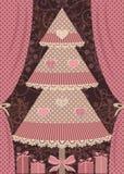 Tarjeta de felicitación Árbol de navidad y regalo Imagen de archivo