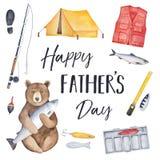 Tarjeta de felicitación 'del día de padre feliz 'con los diversos elementos y equipo pesqueros libre illustration