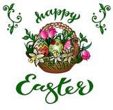 Tarjeta de felicitación 'Pascua feliz 'con la enhorabuena manuscrita libre illustration