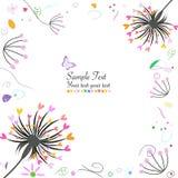 Tarjeta de felicitación abstracta de la flor y del diente de león de la primavera Fotografía de archivo libre de regalías