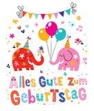 Tarjeta de felicitación alemana del feliz cumpleaños de Geburtstag Deutsch del zum de Alles Gute Imagen de archivo