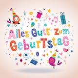 Tarjeta de felicitación alemana del feliz cumpleaños de Geburtstag Deutsch del zum de Alles Gute Foto de archivo libre de regalías